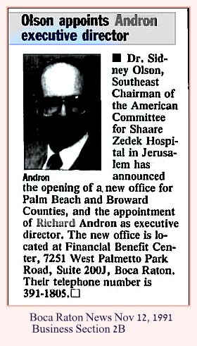 Richard Andron Thursday Nov 12 1991 Boca Raton News Business 2B w caption