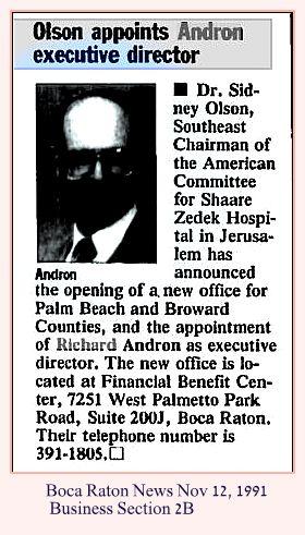 Richard Andron Thursday Nov 12 1991 Boca Raton News Business 2B w caption
