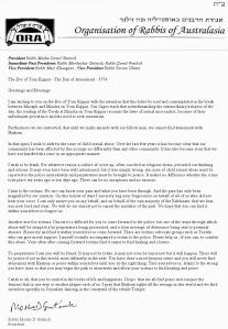 Australia Gutnick Statement erev YK 2013