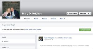 Mary Hughes Using FB for Reelect Hynes Sept 20
