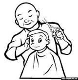Barber and kid