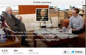 Paul Berger  Twitter Profile 2013-Nov 7 -7pm EST