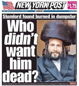 Menachem Stark NY Post front page headline