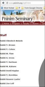 Pninim Staff Listing on website on 7-15-14 1 pm EST US