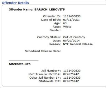 Baruch Lebovits Prison Release NYC General Release Sept 29 2014