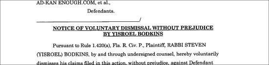 Bodkins Header of Dismissal of LawSuit 1b