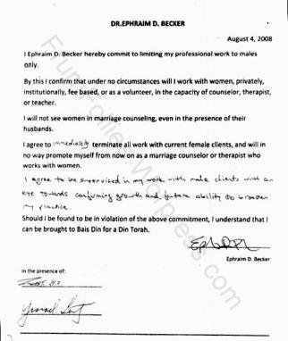 Ephraim Becker agreement not to work with women Aug 4 2008