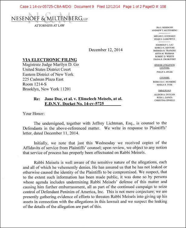 Meisels lawsuit leak complaint response p1 of 2 12-11-14