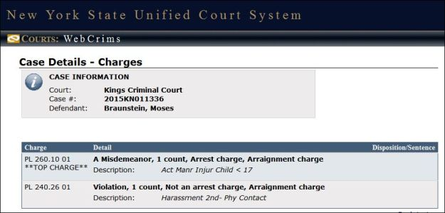 Moses Braunstein Charges as of 3-1-15