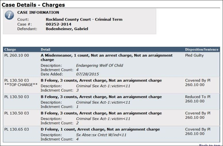 "NYS WebCrims database (as of 7/3015) which reflects his guilty plea. Most felony charges were not dismissed, just ""covered"" by child endangerment charges.  He acknowledge fuilt for 7 very serious felony counts of 1st degree ""criminal sexual acts."""