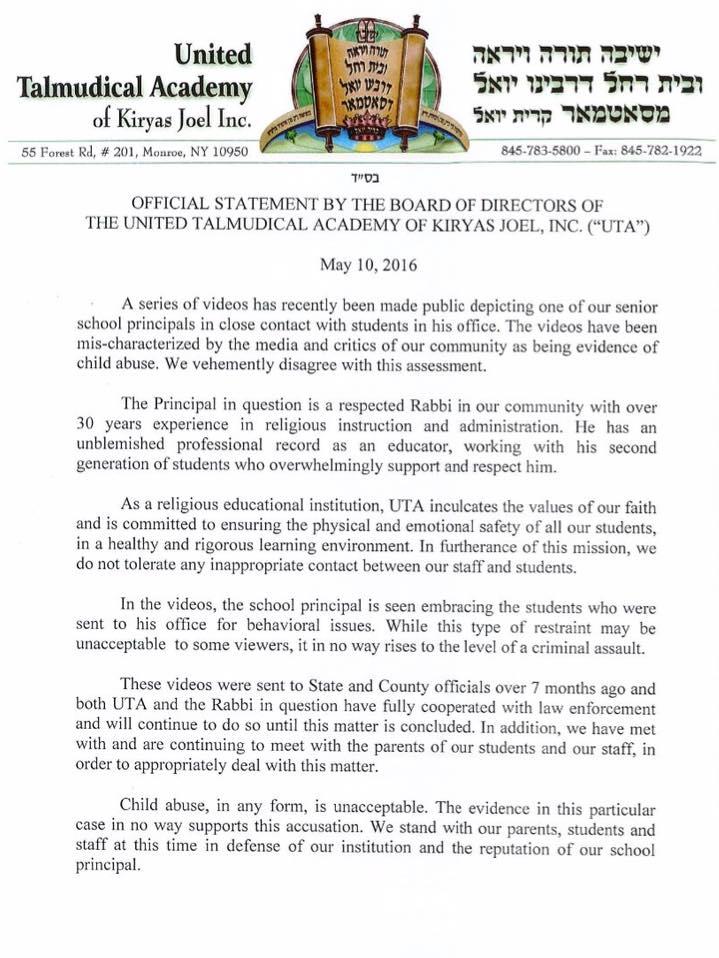UTA statement on video of Rabbi Klein on may 10 2016