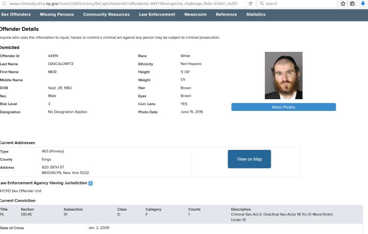 Meir Dascalowitz Sex Registry listing as of July 2016
