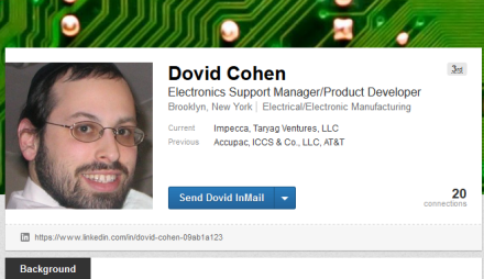 Stefan Colmer LinkedIn Business Card as Dovid Cohen from JCW site 7-29-16