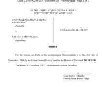 Krawatsky suit dismissed 9-21-18
