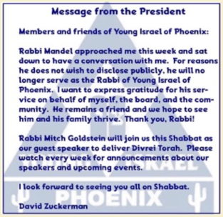 YI of Phoenix resignation announcement of Rabbi Ari Mandel July 2019