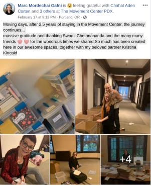 Gafni announces Move from Portland on FB on Feb 17 2020